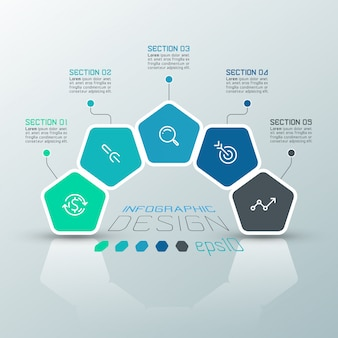 Pentagons label infographic template on vector art.