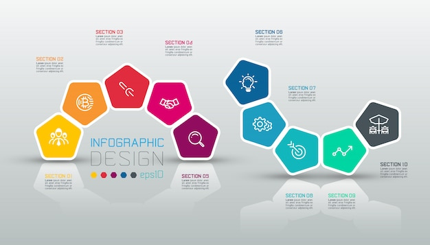 Pentagons label infographic