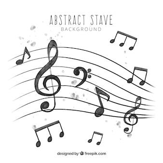 Фон из пентаграммы и акварельные музыкальные ноты