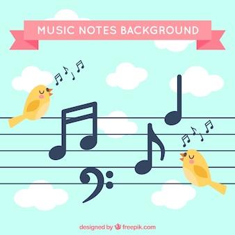 Фон пентаграммы с птицами и музыкальными нотами