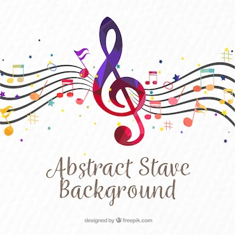 Pentagram background with colorful treble clef