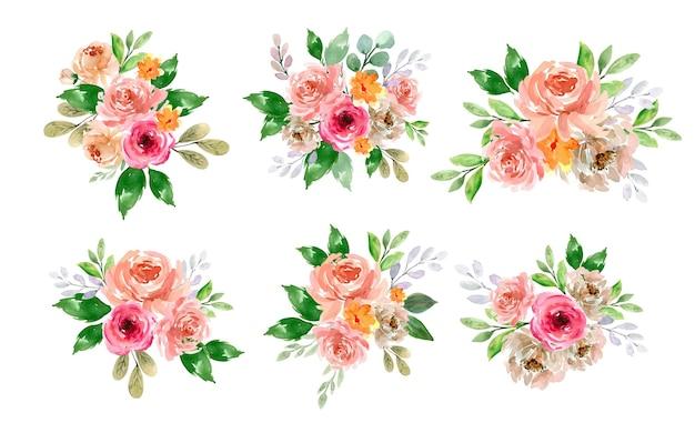 모란과 장미 꽃 봄 꽃다발 배열