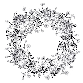 Peonies and baroque style ornament details. wreath.