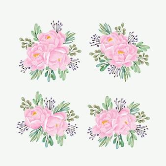 모란 꽃다발 수채화