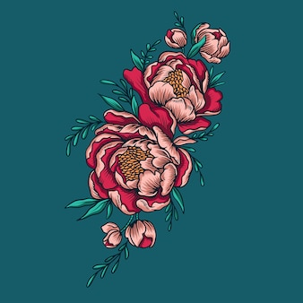 Peonies flower vector