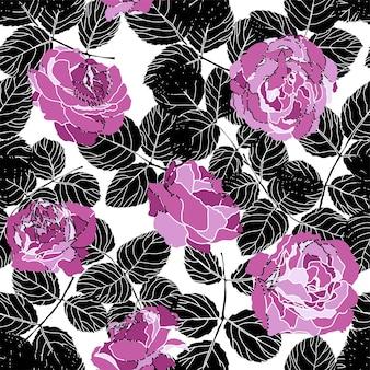 牡丹またはバラと葉、花柄ベクトル