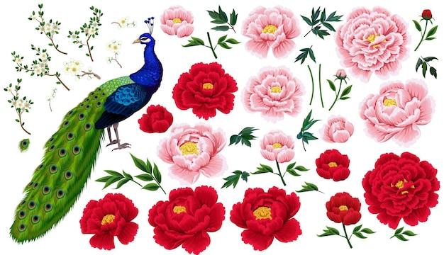 牡丹、梅の枝、中国風の孔雀