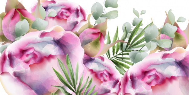 Peonies watercolor exotic floral background