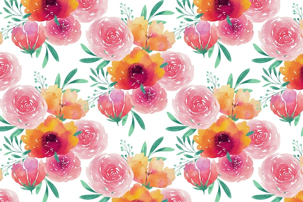 Peonies watercolor seamless pattern template