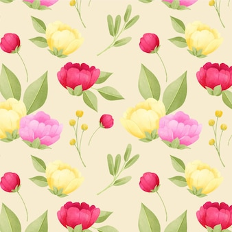 Peonies watercolour floral pattern