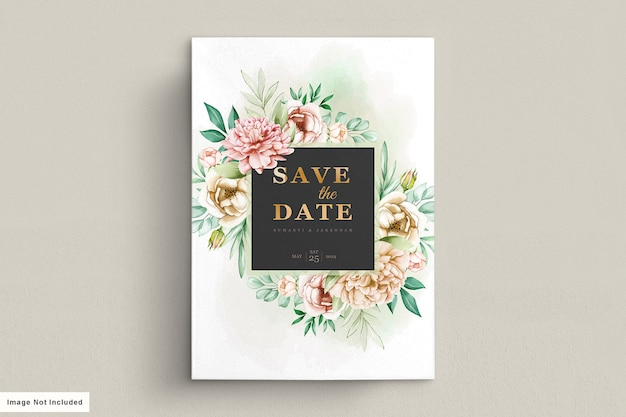 Peonies wedding invitation card set