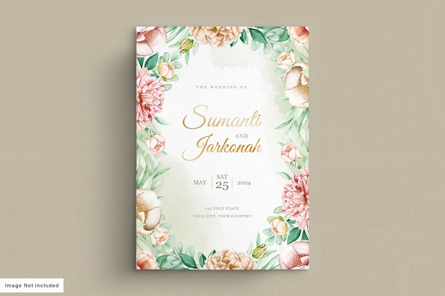 牡丹の結婚式の招待カードセット