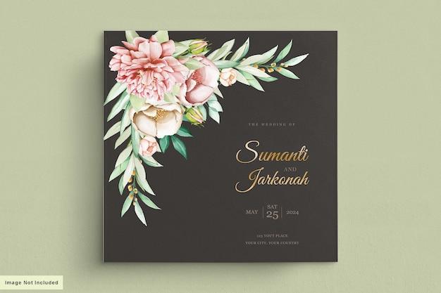 Set di carte invito a nozze peonie