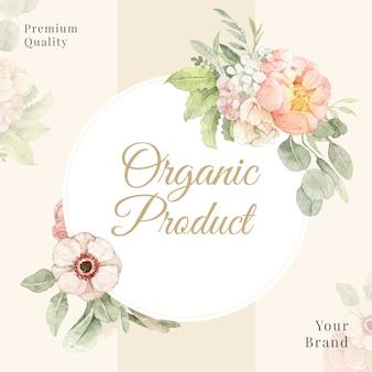 ブランディング、コーポレートアイデンティティ、パッケージング、製品のための牡丹とポピーの水彩フレームとボーダー。