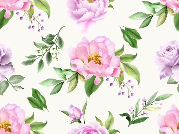 Пион и розы бесшовный фон