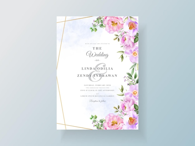 牡丹とバラの結婚式の招待カード