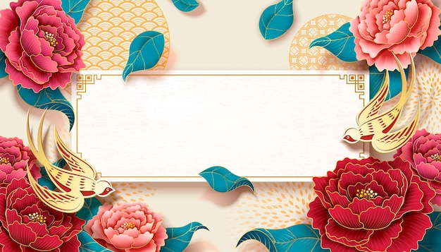 Peony banner with colorful flowers and golden swallow decorations