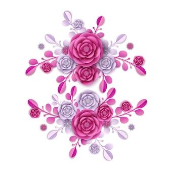 牡丹の花と抽象的な花柄