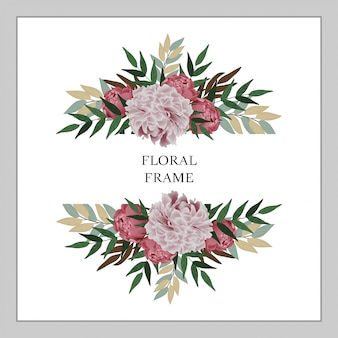 Peony bouquet floral frame