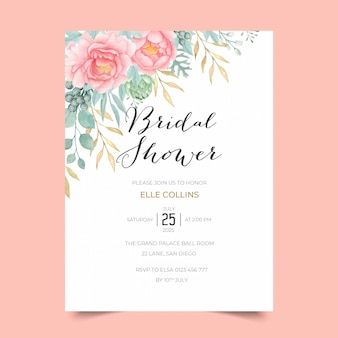Peony bridal shower invitation with green eucalyptus and artichoke