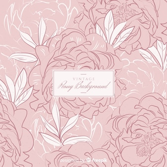 Peony flower background in retro style
