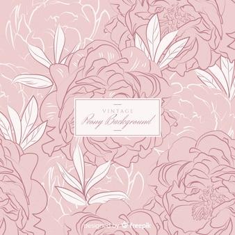 Peony flower background in retro style