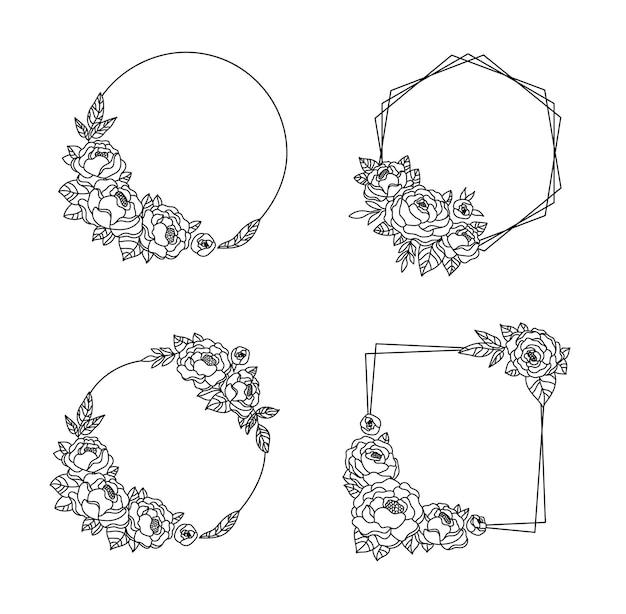 모란 꽃 프레임 번들 모란 식물 모노그램 원형 프레임과 꽃 화환