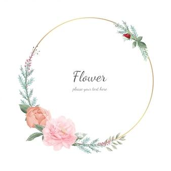 牡丹の花のフレーム。ゴールドフレーム。結婚式の花の装飾。グリーティングカードテンプレート