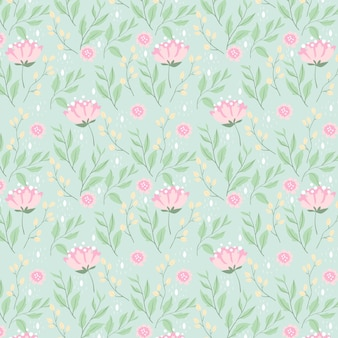Peony flower and leaves seamless pattern