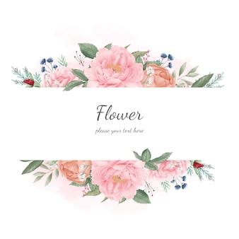 Пион цветок акварельный набор. свадебный цветок пригласительный билет. флора приветствие.