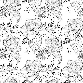 牡丹の花と葉のシームレスな垂直方向の境界線。花のロマンチックなアウトラインの壁紙。