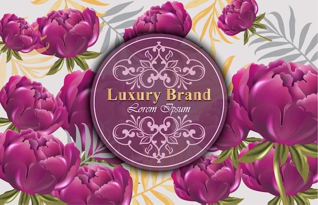牡丹の花カードベクトル。招待状、結婚式、ブランドブック、名刺、ポスターのための美しいイラスト。テキストのための場所