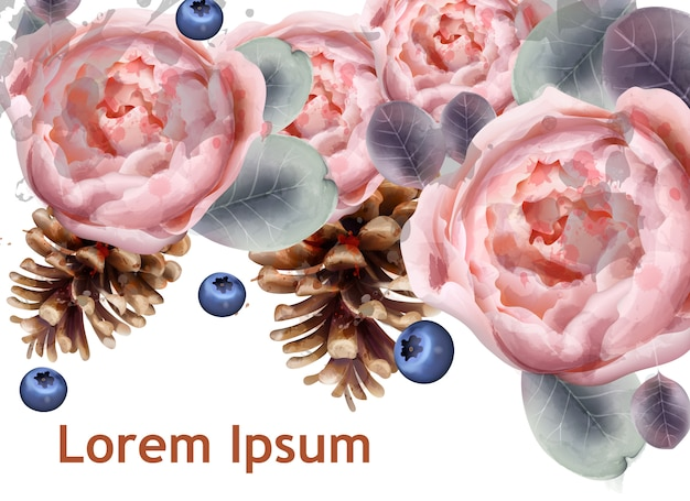 Peony flowers and fir cones watercolor
