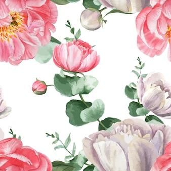 Peony flowers watercolor pattern seamless floral botanical watercolour style vintage textile