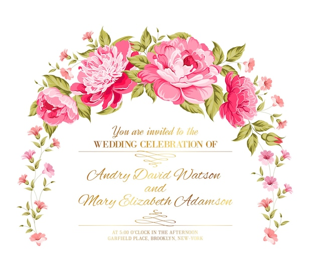 Peony garland.wedding invitation card with blooming peonies.
