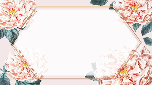 Peony golden hexagon frame background vector