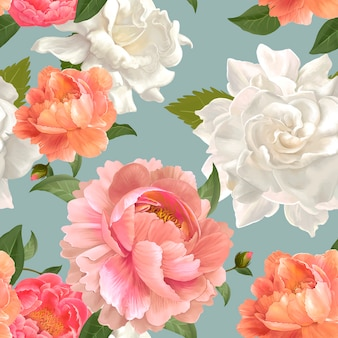 Peony patterned wallpaper