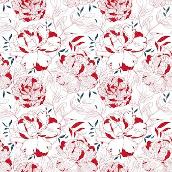 牡丹の赤と白の花のシームレスなパターン