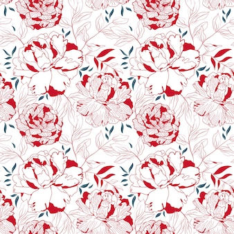 Peony red and white floral seamless pattern