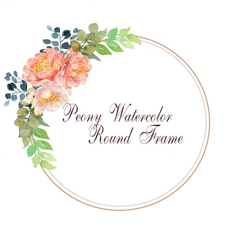 Peony round watercolor frame background