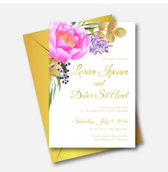 Peony watercolor template wedding invitation card