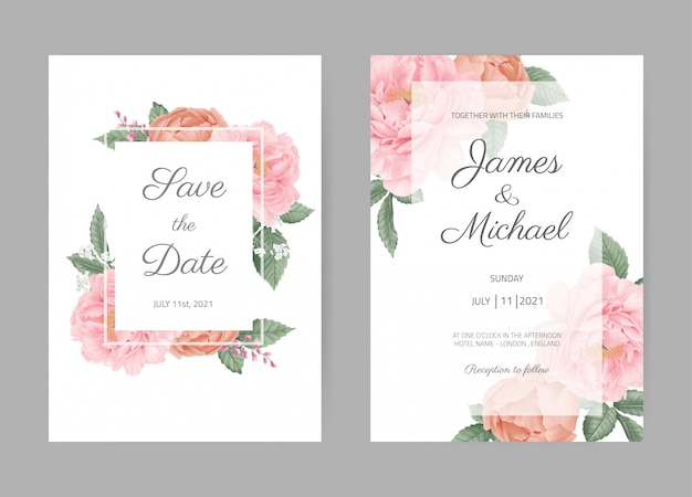 Peony wedding invitation set card. save the date and with. pink flora. greeting card template.