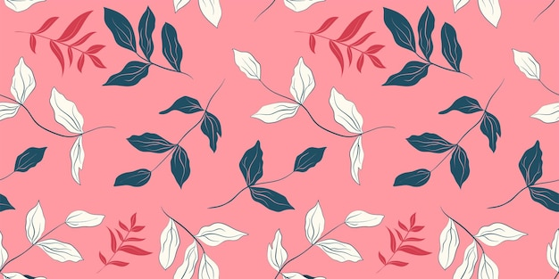 Peony white and dark blue leaves seamless pattern