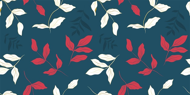 Peony white golden and red leaves seamless pattern