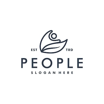 People and abstract leaf logo human icon logotype