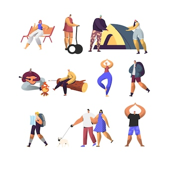 People active lifestyle set. male and female characters in summer camp
