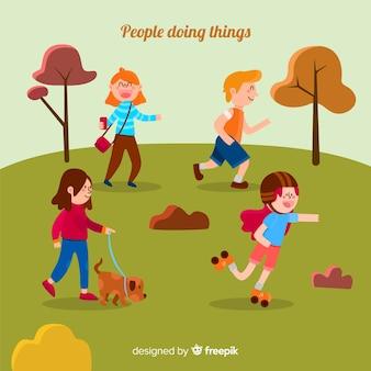 공원에서 사람들이 활동