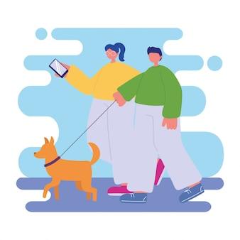 人の活動、スマートフォンと犬の散歩と若いカップル
