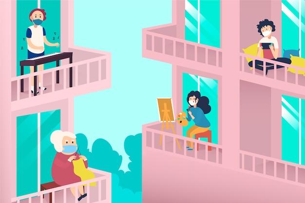Активность людей на балконе