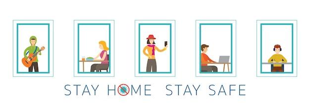 Действия людей в их окнах, оставайтесь дома, оставайтесь в безопасности, концепция социального дистанцирования